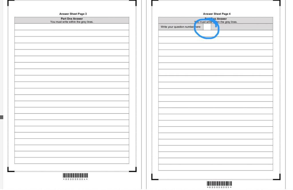 CAE writing answer sheet